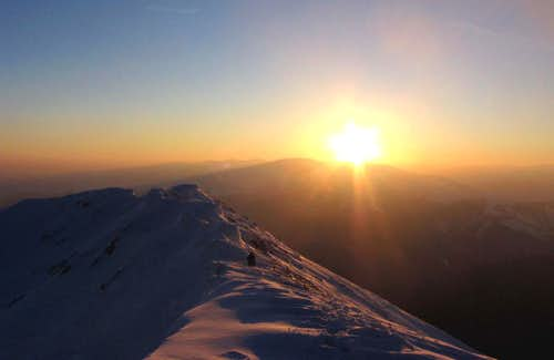 The most beautiful sunset that I have ever seen in winter on this mountain  - South ridge