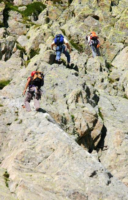 Climbers working up the 1st...