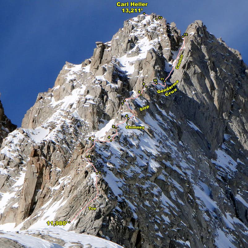 Carl Heller East Ridge Annotated Photo (E View)