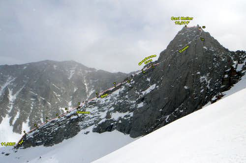 Carl Heller East Ridge Annotated Photo (N View)