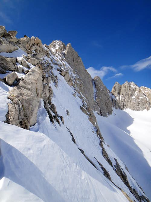 Steep Snow on Slab along P2 of the East Ridge