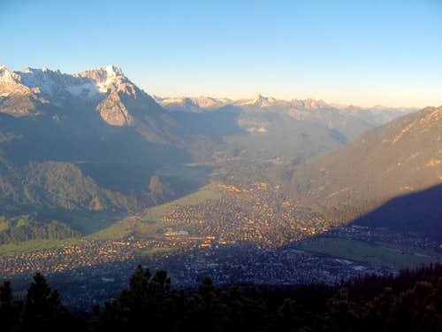 Dawn over Garmisch-Partenkirchen and the Zugspitze
