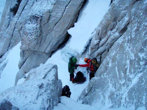 Gearing up for the headwall on Winter Route