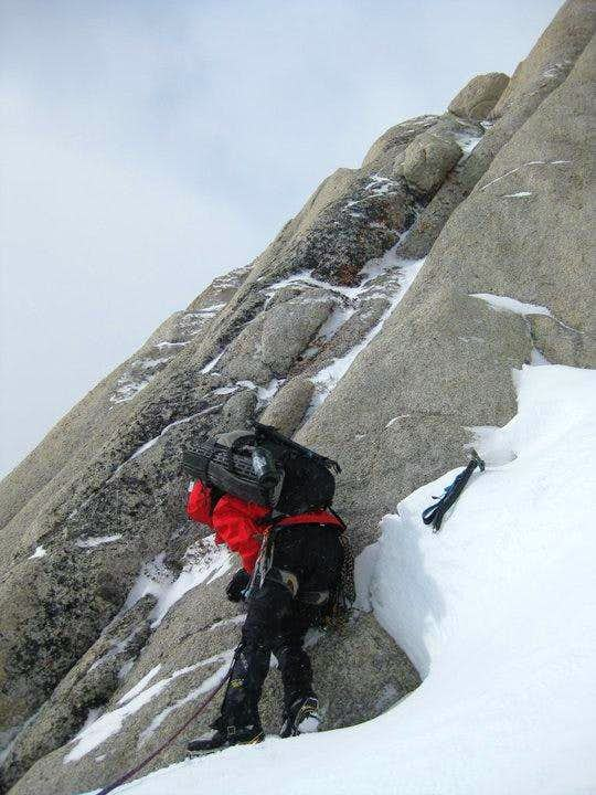 Kellen leading the second headwall pitch
