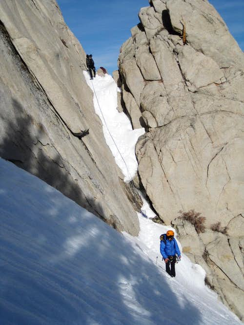 Rappelling the Winter Route notch