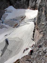 Crowds at the bergschrund of the Höllentalferner