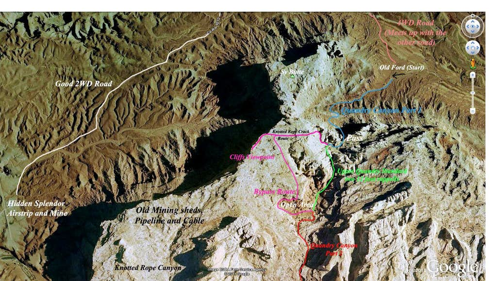 GE image of the Upper Quandry Canyon routes