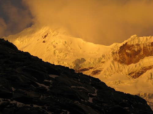 Sunset while descending from high camp