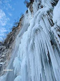 Icicles of half-frozen waterfall