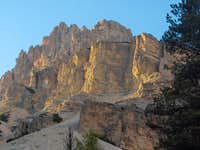 The steep walls of the Fanes Dolomites
