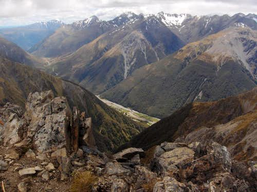 Looking down on Arthur\'s Pass