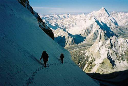 Crossing the west ridge apex...