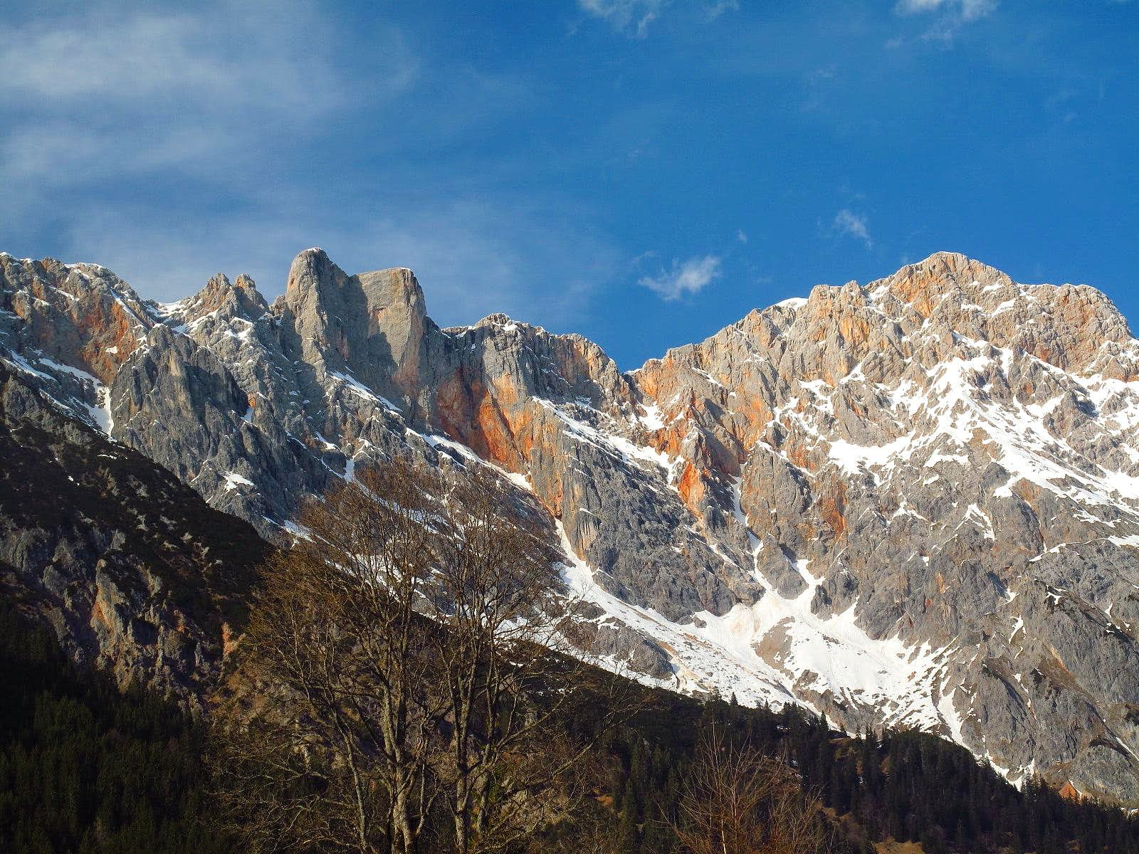 The southern tip of the Berchtesgaden Alps in early April