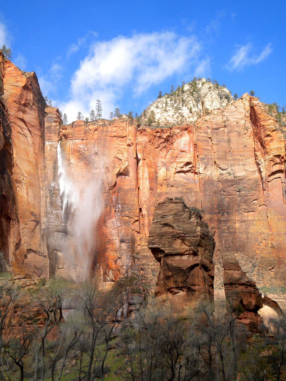 Windblown Waterfall near Temple of Sinawava