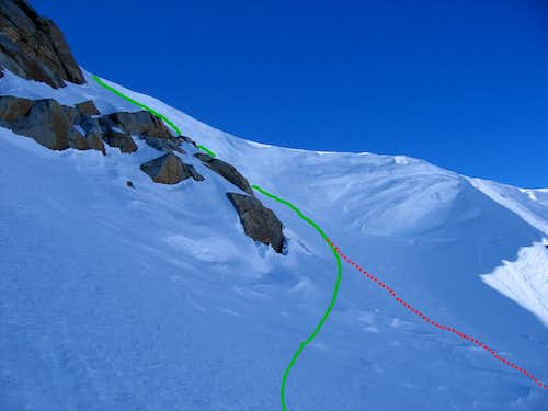 Top section of the Pyramid Couloir