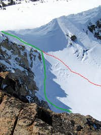 Close-up of the top of Pyramid Couloir