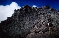 climbing up the basalt dome -...