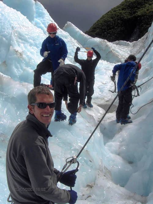 Ice climbing fun on Franz Jozef Glacier