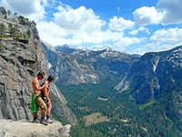 Hikers above Yosemite Falls