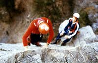 CHENAUX s on rocky plate up the cliff of 20 metres on 1978