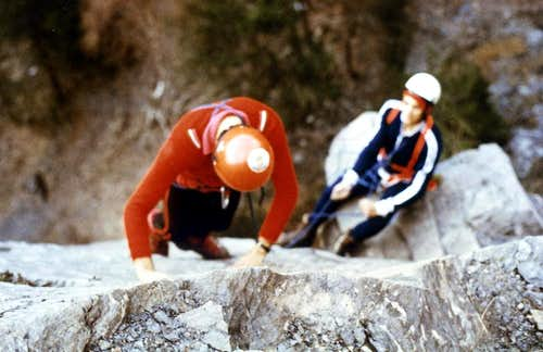 CHENAUX\'s on rocky plate up the cliff of 20 metres on 1978