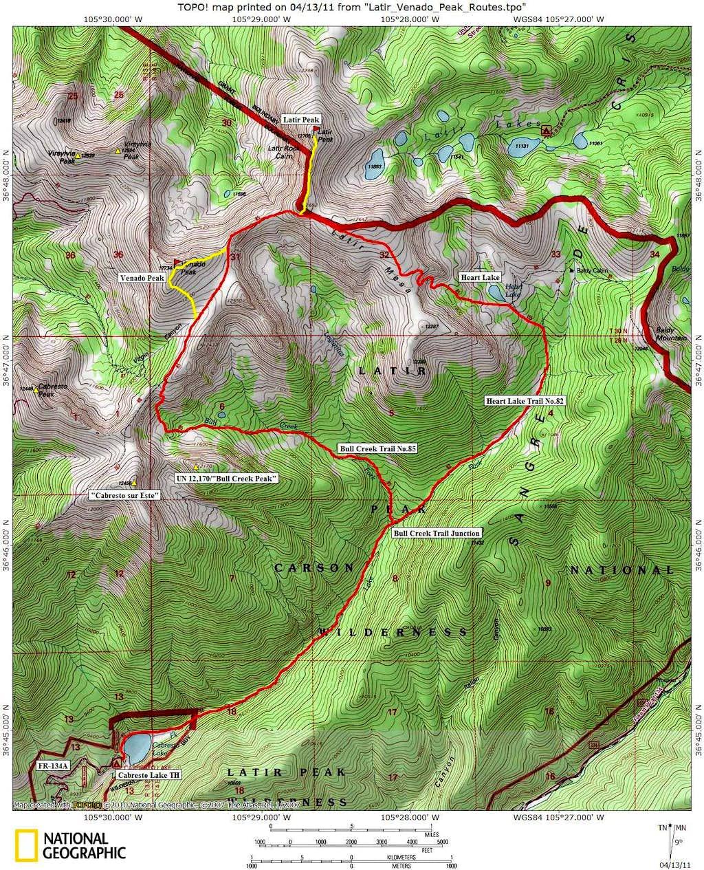 Latir Peaks Route Map