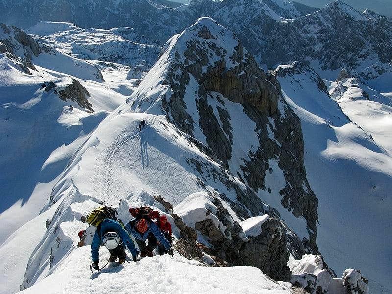 ...climbing on Triglav summit ridge