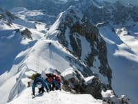 ...climbing on Triglav summit ridge