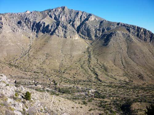 Hunter Peak rises from below