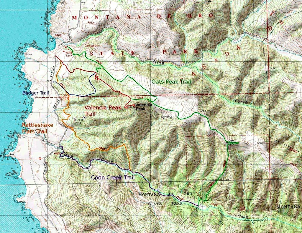 Valencia Peak Map