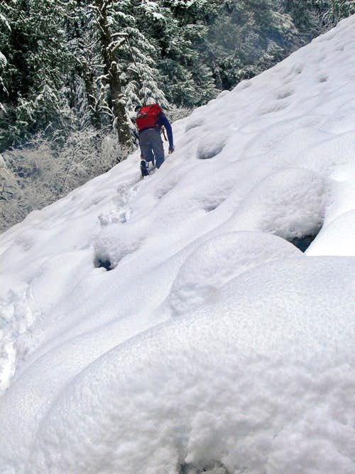Heading up the Snow Covered Boulders