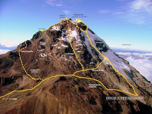 Illiniza Sur Topo Photographic Map.