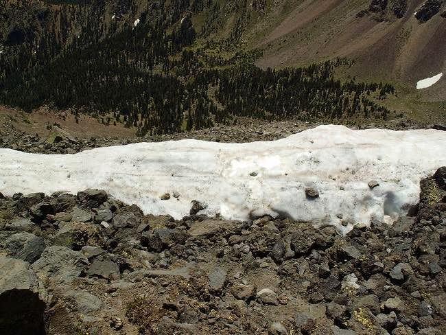 Snow along the summit ridge...