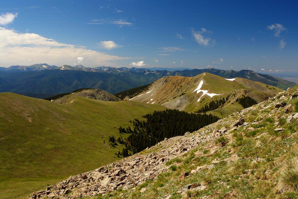 SE slopes of Venado Peak: looking south