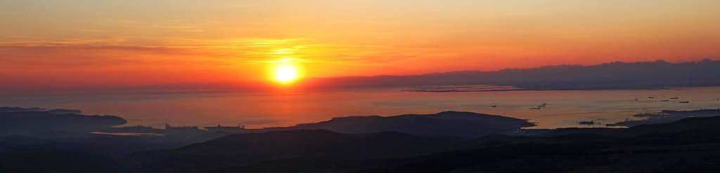 Slavnik sunset panorama