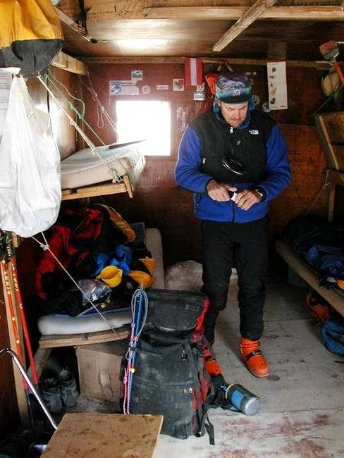 Inside the Refugio at 5200m....