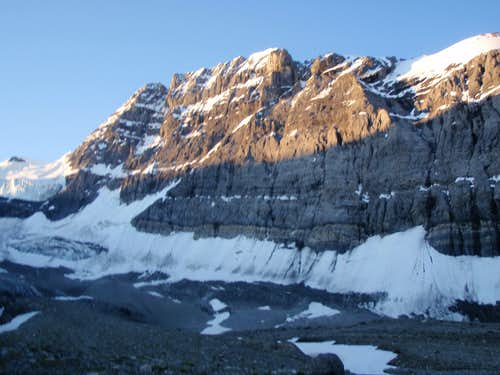 Mount Forbes at the toe of the glacier