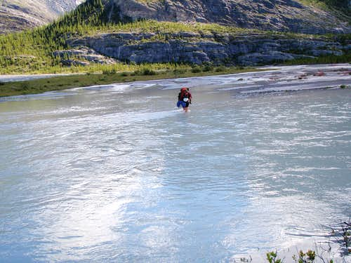 Glacier River crossing