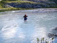The Glacier River crossing