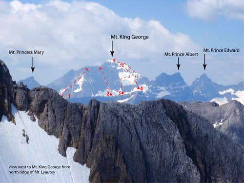 East Face of Mt. King George (routes marked)
