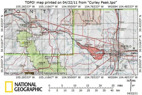 Curley Peak Getting There Map