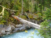Log bridge over Palliser River