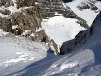Looking down couloir