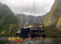 The Fiordland Navigator in a quiet side arm of Doubtful Sound