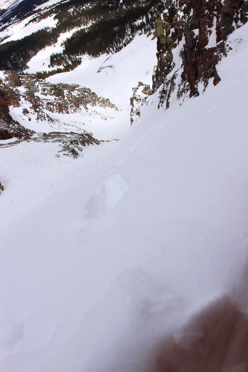 Looking down Naked Lady Couloir