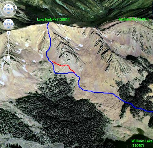 Lake Fork Peak East Chute Google Earth