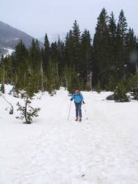 Amy skinning up the Williams Lake Trail