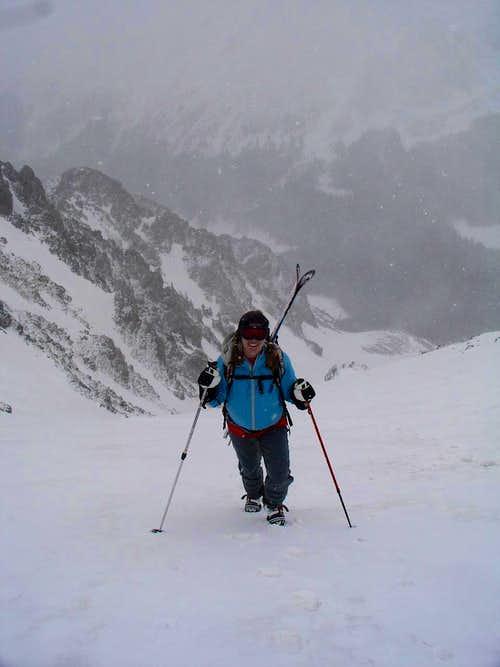 Amy snowclimbing Lake Fork Pk's east chute