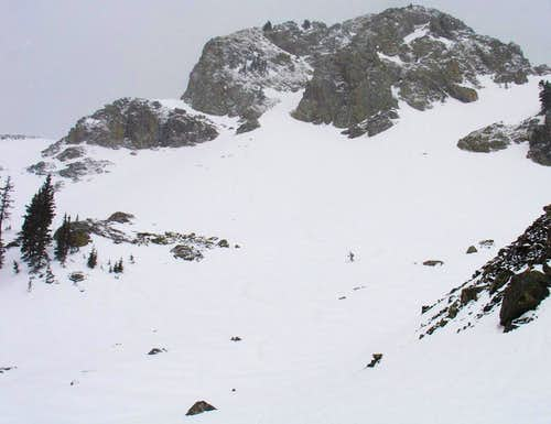Amy skiing below the east buttress