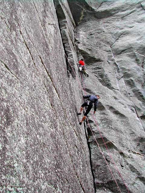 climbing on Sasso Remenno
